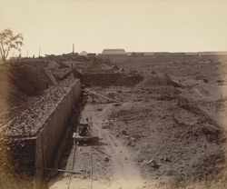 A - View from north-east corner looking S. This, with photo marked B [print 32], completes a panoramic view of Works from N.-E. corner [Victoria Dock construction, Bombay].